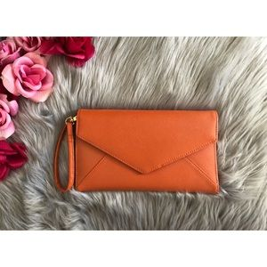 Accessories - NWOT Orange Wristlet / Wallet with strap